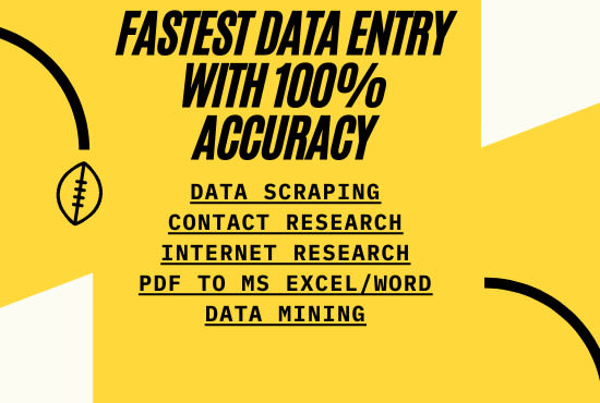 i will do fastest Data entry in one day